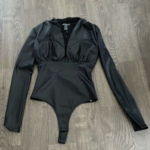 Revamped Faux Leather bodysuit XS